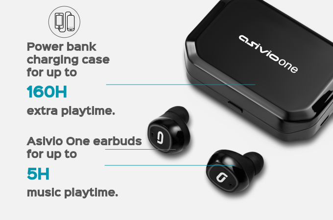 Using Asivio One earbuds for 4 hours per day and placing back in the case can take you a whole month before the need to recharge the case.