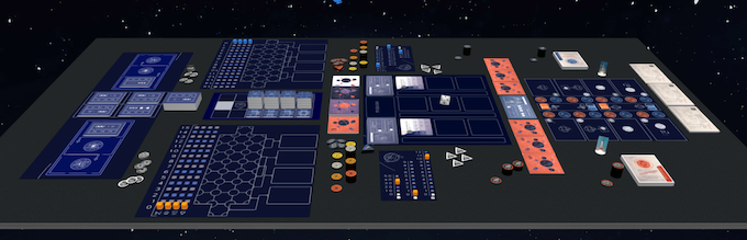 Tableview of the Orbit box from Tabletopia