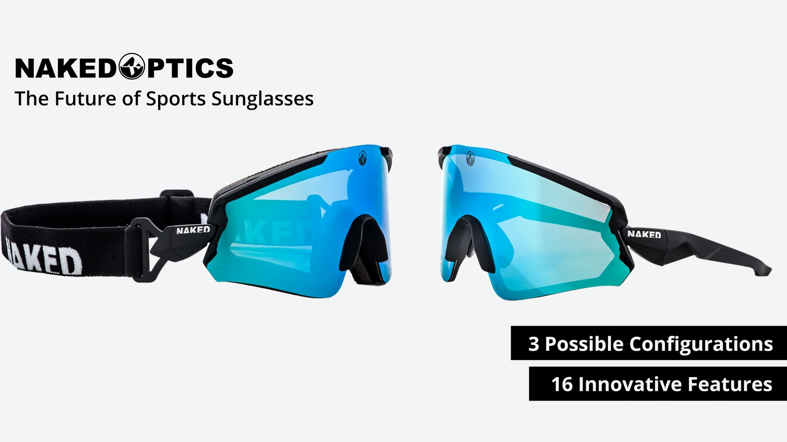 Three different sports sunglasses combined in one high-quality masterpiece of eyewear. For every outdoor activity.