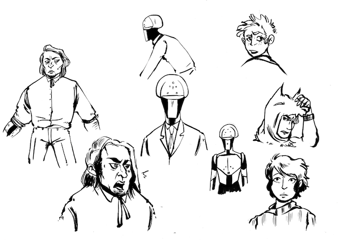 Early Character Sketches. Who are these guys? Find out in Issue #2!