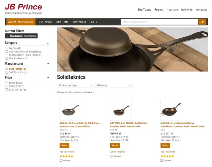 Click to go to the JB Prince website - a huge collection of top quality real Chef products. If you're a keen home cook, you should be investing in real Chef equipment at an industry supplier like JB Prince, not housewares from a retail chain.