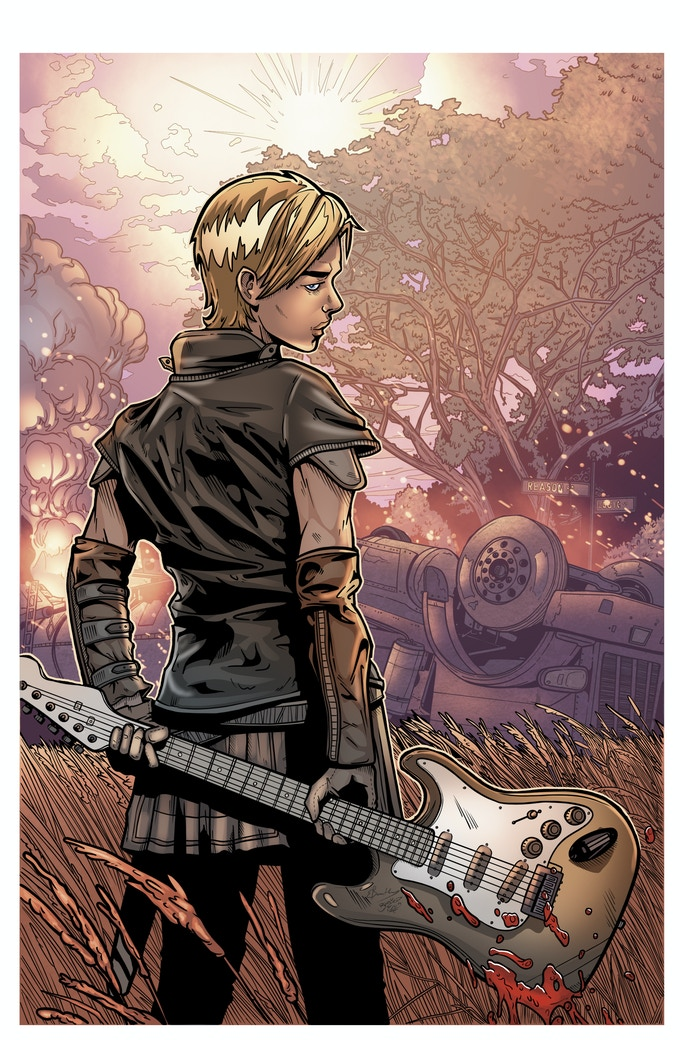 Our hero 'Wake' - This is also the 'Guitar Hero' print you can choose as part of your rewards (Art by Vessels #3 artist Edward Bentley)