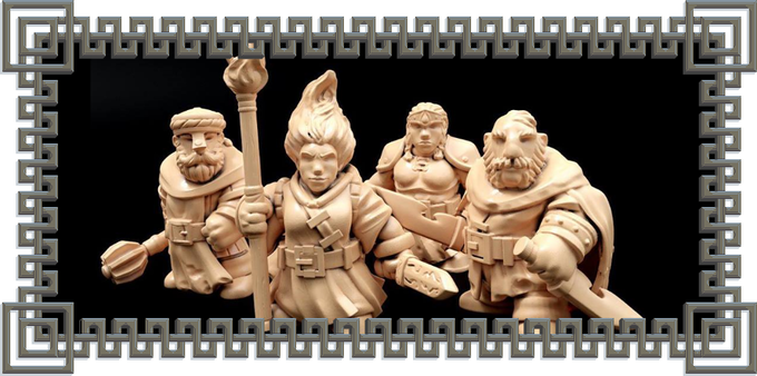A party of optional pre-made dwarf character miniatures (cleric, mage, fighter, and rogue).