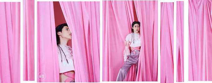 Chinese singer Deng Dian wore PiiiNK! collection pullover and letter sleeves
