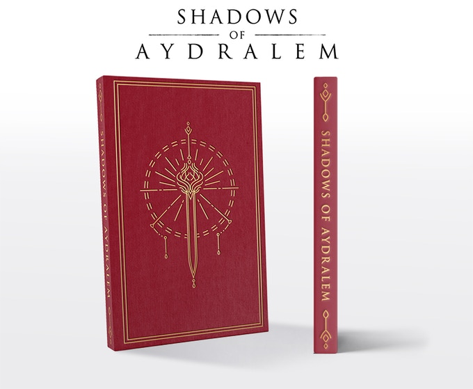 "Shadows of Aydralem will be a 6""x9"" linen hardcover book with foil stamping, containing over 100 pages with 12 illustrations throughout the book"