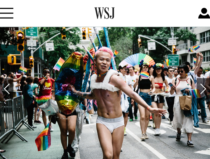 I marched in the NYC Pride 2018 with the Chinese Rainbow Network group, and my picture has been published on the Wall Street Journal.