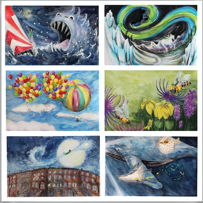 (Top): Sea Monster, Northern Lights (Middle): Hot Air Balloons, Honey Bees (Bottom): Shooting Star Cityscape, Deep Sea Divers.
