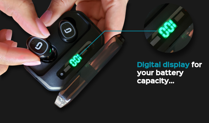 First earbuds charging case on Kickstarter with a digital battery capacity display!