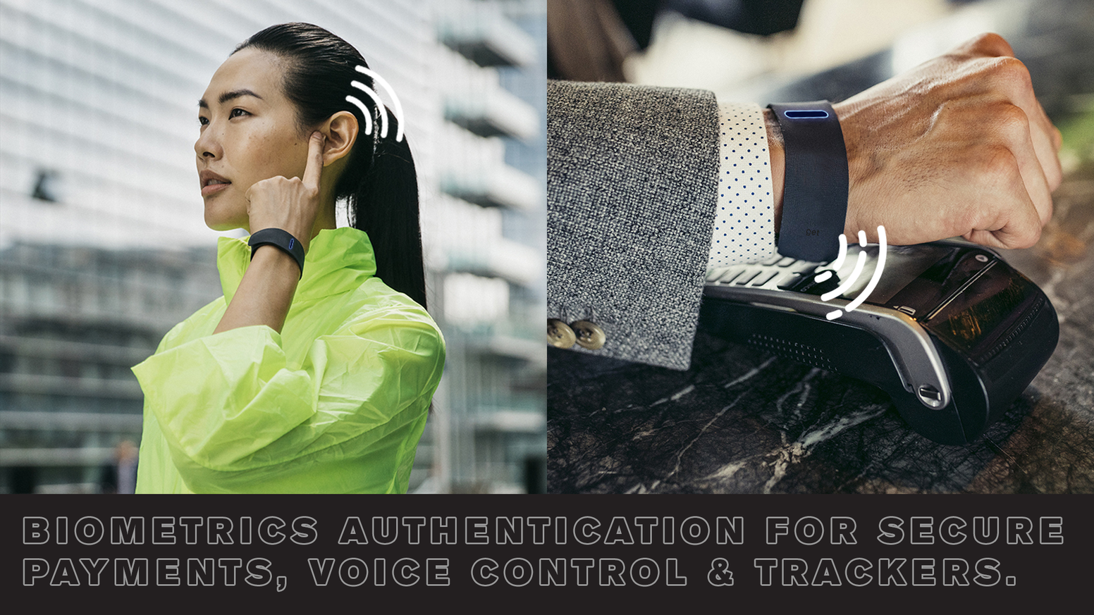 The perfect hybrid solution between smart watch and smart bands. Hi-tech wearable bracelet with bone-conduction technology.