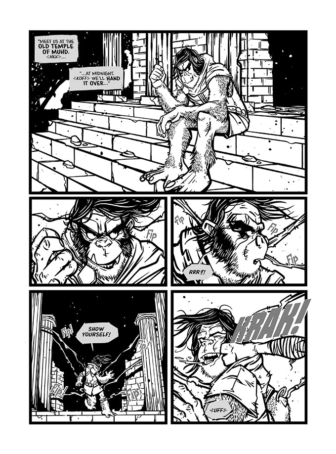 Preview pages of The Two-Headed Snake, art by Mark Hughes, story by Pete Taylor (all pages will be coloured when published)