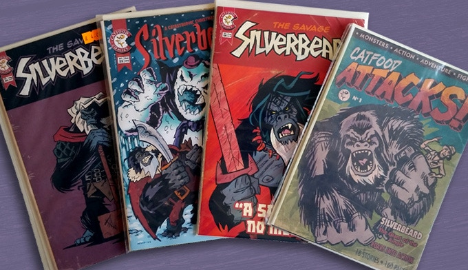 Recreations of remembered Silverbeard covers, published by Catfood Comics
