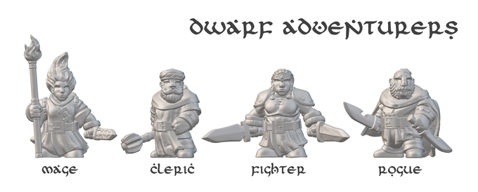 This party of optional dwarf adventurers is exclusive to this project, and starting-level characters will be provided in the module for all four (mage, cleric, fighter, and rogue). Miniatures sculpted by Max Maurel.