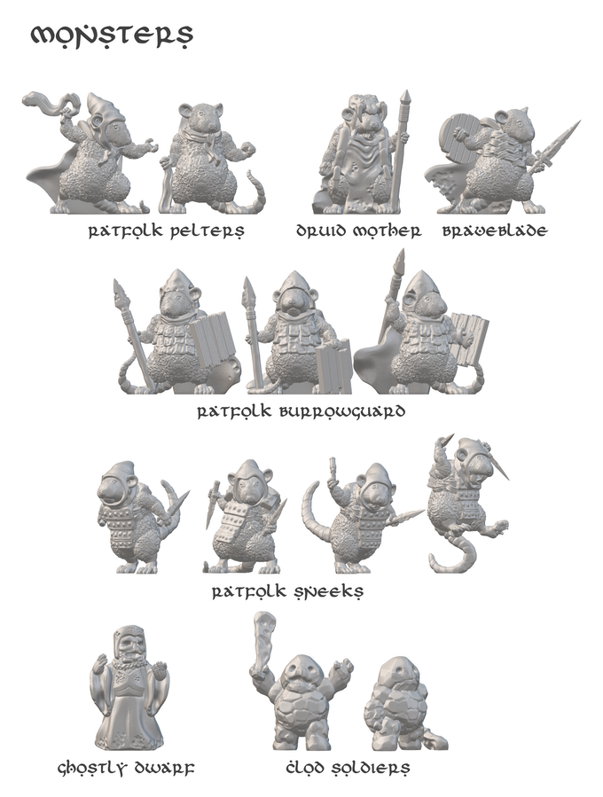 A few of the monsters that will feature into the module, all sculpted by Dutchmogul. Some of the ratfolk designs are currently available on Thingiverse, and more will be released there before the campaign is over.