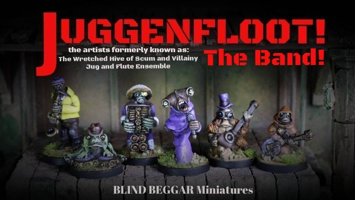 Juggenfloot: The Band. Grab yourself a set of the Band in white metal for tabletop gaming, RPG or simply for the fun of painting them!