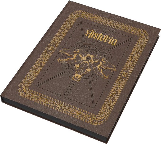Mock up of the Deluxe Edition, with faux leather cover with embossed design and gold foil.
