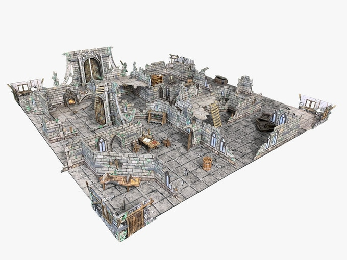 "The Ruined Monastery on the Flagstone Floor Gaming Mat (with 1""/25mm grid) - perfect for RPGs!"