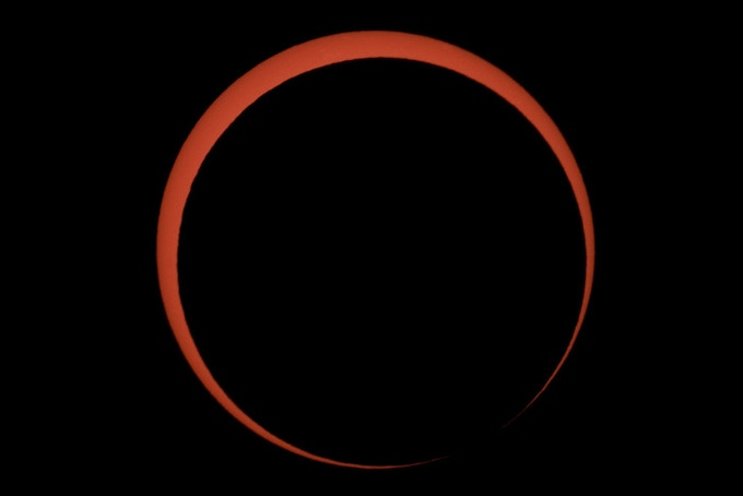 The moon passes in front of the Sun during an annual solar eclipse