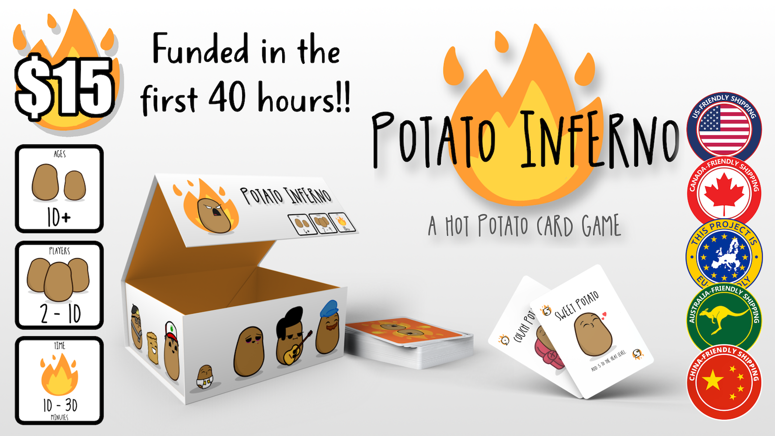 � Potato Inferno is a fast paced game of passing the hot seat! As the heat levels rise, so does the pressure! Who will be burned?! �