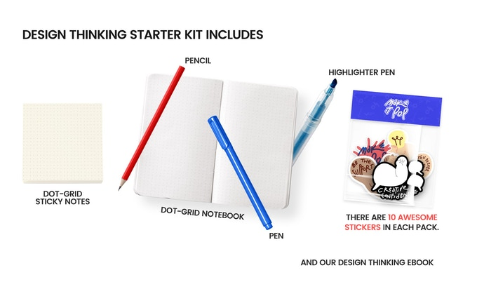 Design thinking starter kit includes: Dot-Grid Sticky Notes, Pencil, Dot-Grid Notebook, Pen, Highlighter Pens, Sticker Pack, E-Book: The Art of Being a Creative Badass and whatever else we have lying around