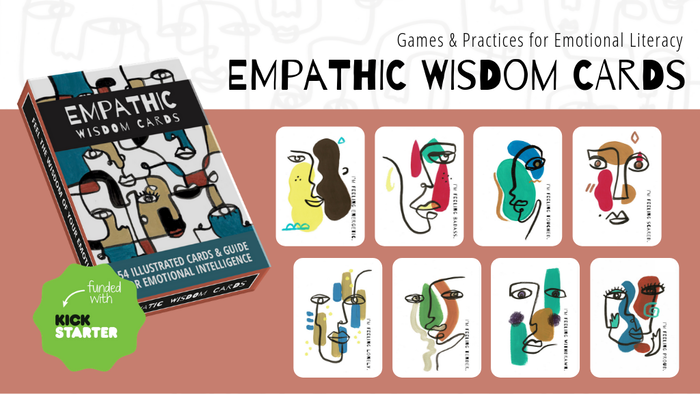 54 illustrated cards of emotions + guidebook with relational games & practices for emotional literacy.  Solo, duo or in a group, connect with your feeling-wisdom anywhere anytime!