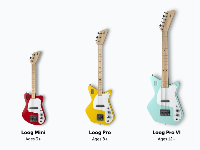 The new Loog electric guitars come in three sizes, for rockstars ages 3 to 99 :)