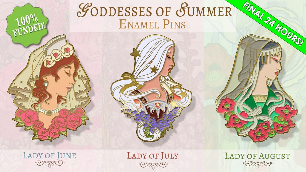 Goddesses of Summer Birthstone and Flower Hard Enamel Pins project video thumbnail