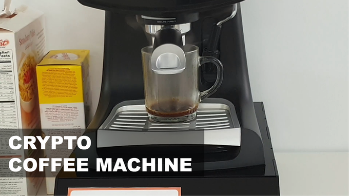 A coffee machine that brews coffee in exchange for cryptocurrency