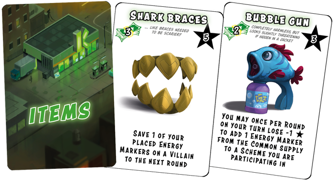 Unlock new handy abilities for your Goons by getting items! Items are also worth a whole lot more VP than plain old cash, so don't pile up!