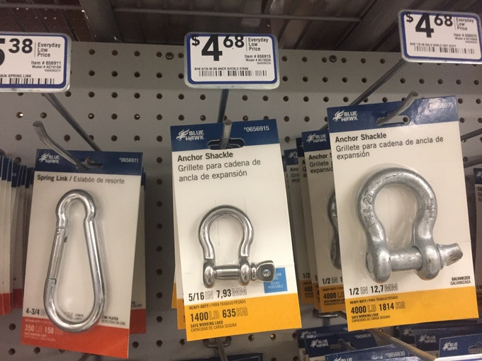 Making a similar setup from available shackles would be much bulkier and cost twice as much! (4X $4.68)