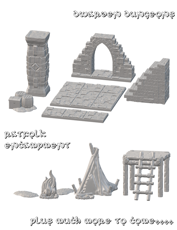A sampling of the dungeon tiles that will be included in the set (with more to be revealed throughout the Kickstarter campaign). The tiles are meant for quickly assembled (and disassembled) rooms and corridors that can be reconfigured to meet your needs throughout the game. This set omits walls for ultimate ease and visibility. Features (such as doors, pillars, and scenario-specific objects) plug into the tiles as needed. The floor tiles can be laid on a tacky surface to avoid slipping (such as a rubber or neoprene mat), but are also fitted for magnets, magnetic tape, or even Velcro.