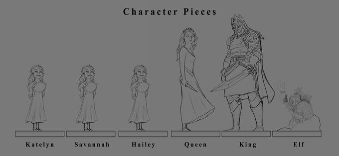 Choose a unique character piece to go along with the character card you've drawn.