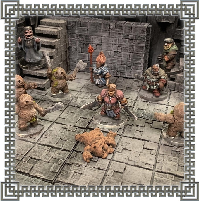 Dwarf adventurers battle lesser elementals summoned by a long-dead Wright-Priest of Skyggeborgg.