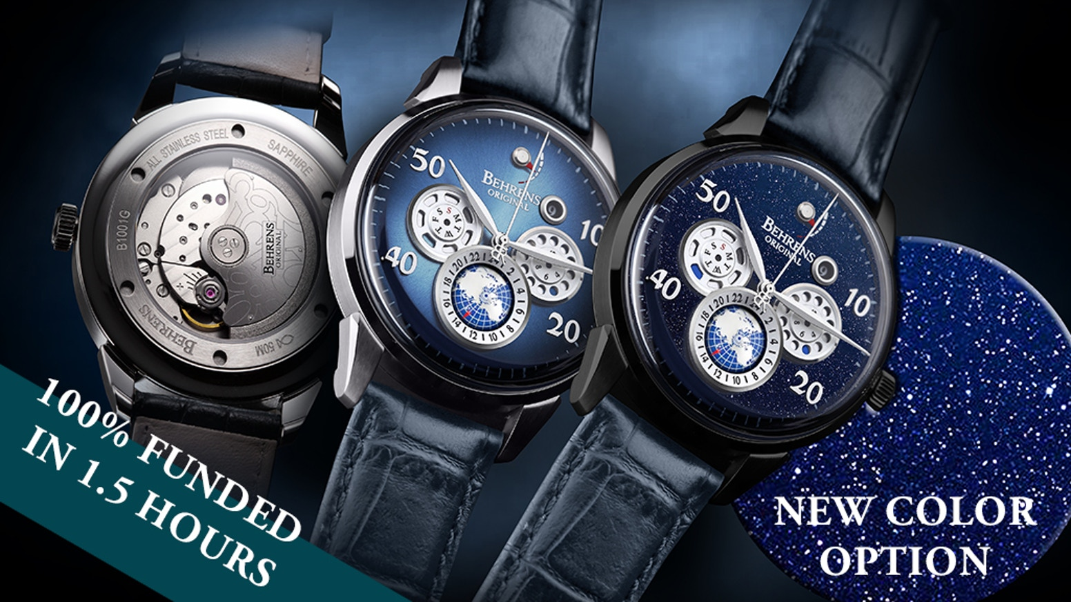 8 INDICATORS - multifunctional super slim automatic mechanical watch combines with top-tier material and movement. By Behrens Original