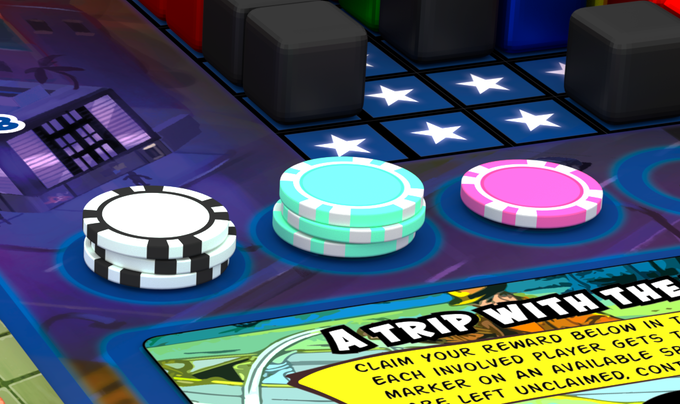 The deluxe mini poker chips are a very nice component upgrade to the Energy Markers in the game! Here is a rendered example of how they'll look in action!