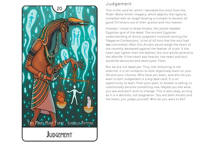 Screenshot of Card Description - ThisMightHurtTarot.com