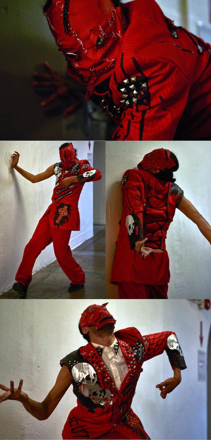 RED SUIT AND MASK : Click for detailed shot. Dancer: Lenin Fernandez Jr., Photo: Sean Deckert.