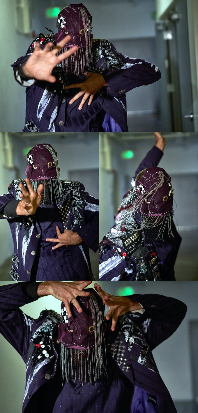 PURPLE SUIT AND MASK : Click for detailed shot. Dancer: Ryan Walker Page. Photo: Sean Deckert.