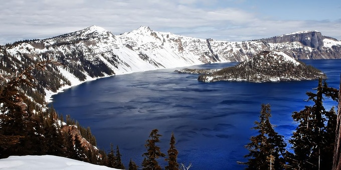 This is Crater Lake. Fun fact: not only is it a lake, it is *also* a crater.