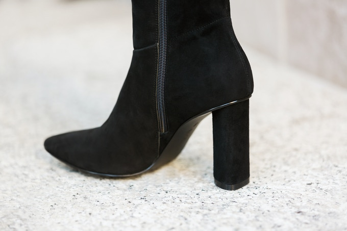 The Melrose, featuring a 3.5 inch column leather wrapped heel