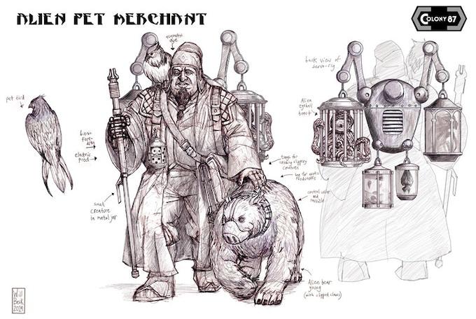 Alien Pet Merchant concept art by Will Beck. Alien bear not included.