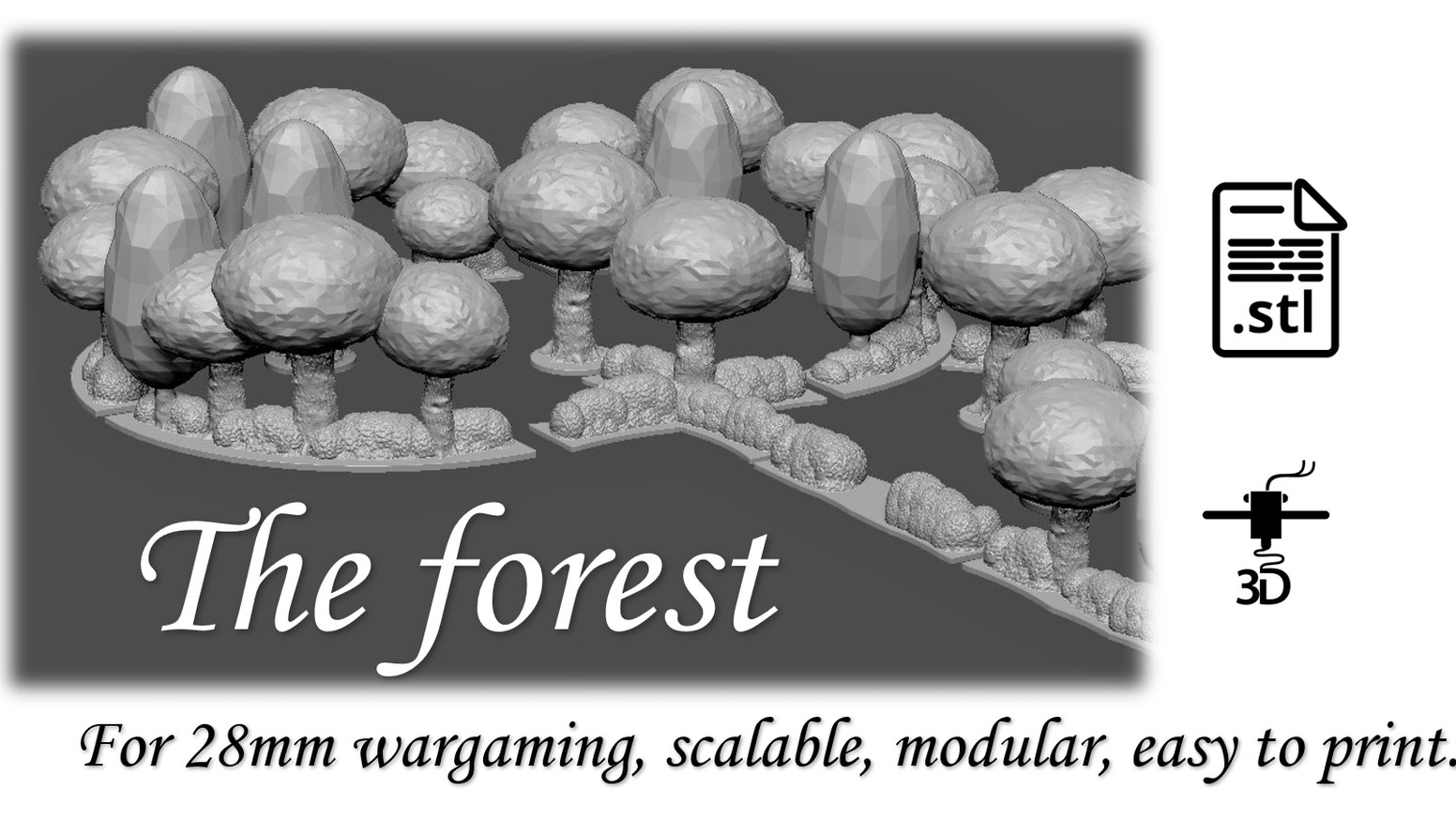 Forest for 28mm wargaming for 3D printing.