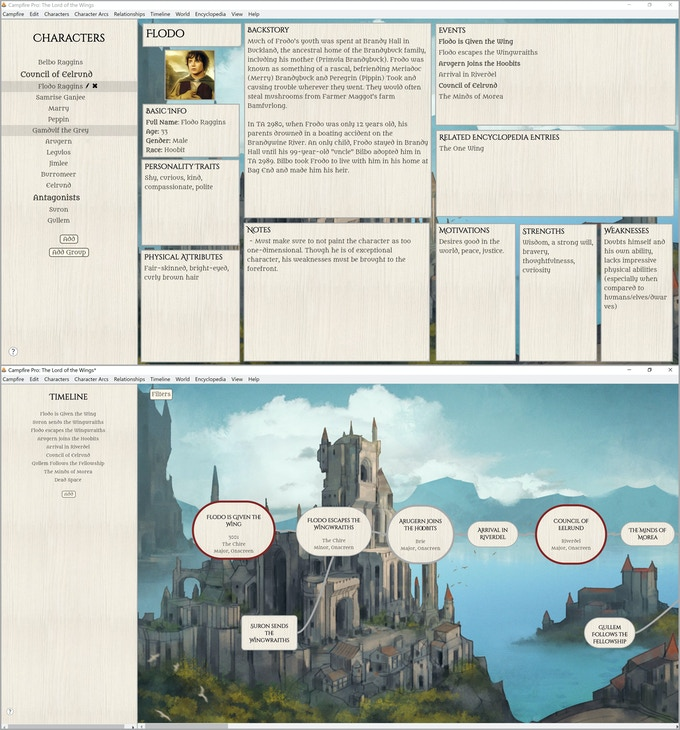 The Character and Timeline views of Campfire Pro.