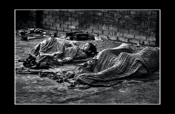 Families sleeping on the streets of Kolkata (formally Calcutta)