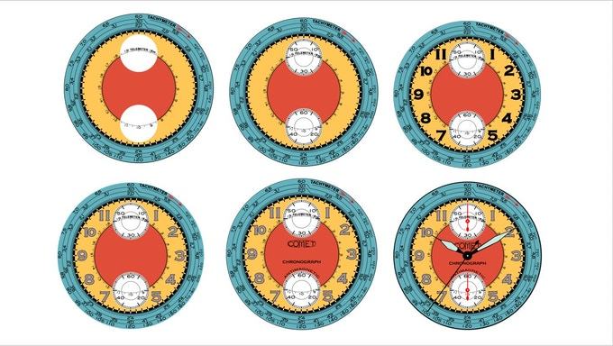 Dial printing - assembly sequence#2  example (Comet Chronograph)