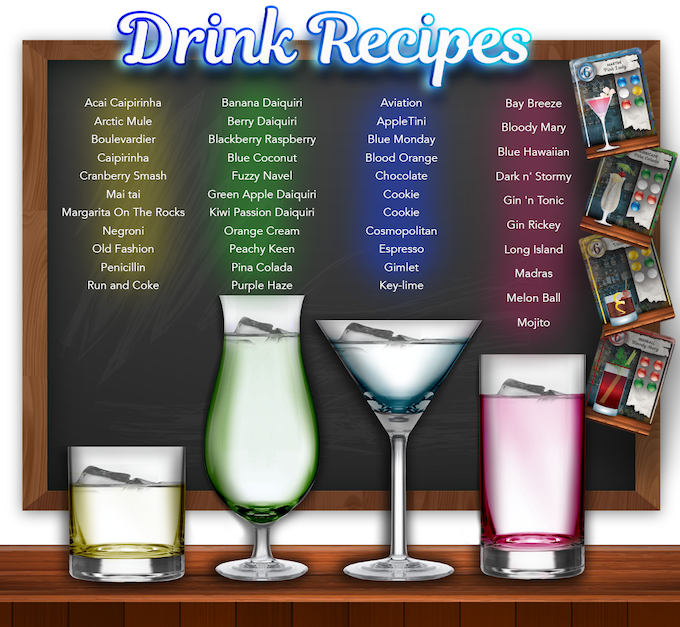 Drink Recipe cards included in the game