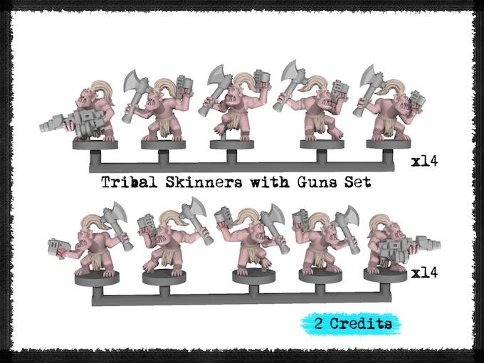 Tribal Skinners with Guns Set - Metal