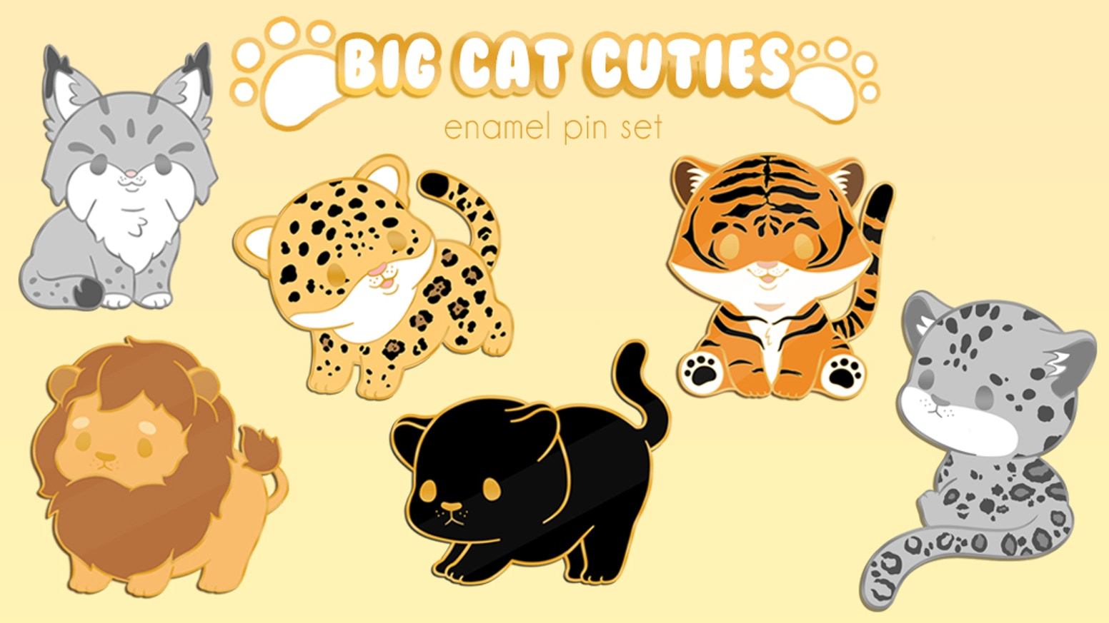 A 6 pin set of adorable big cat hard enamel pins