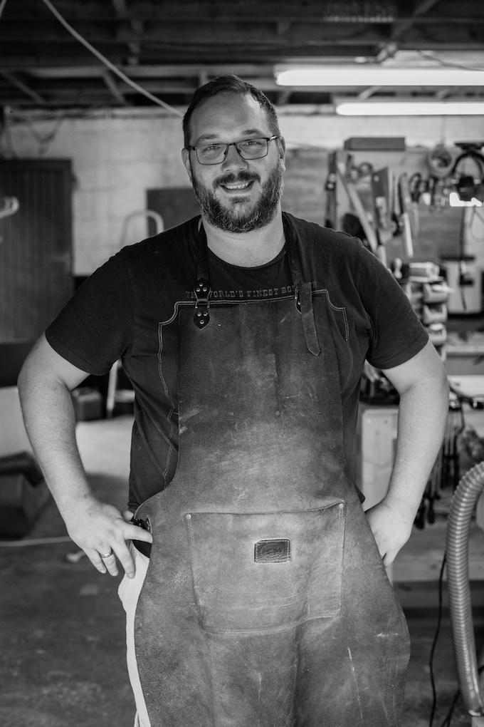 Luke in his workshop