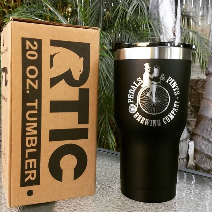 20 oz Refillable Travel Tumbler w our Refuel the Ride, Friends & Family and Name in Bar packages!