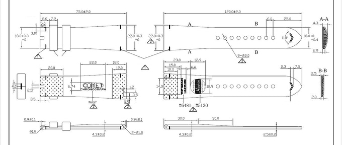 Engineering Drawing - Vintage leather strap (Comet - Chronograph)